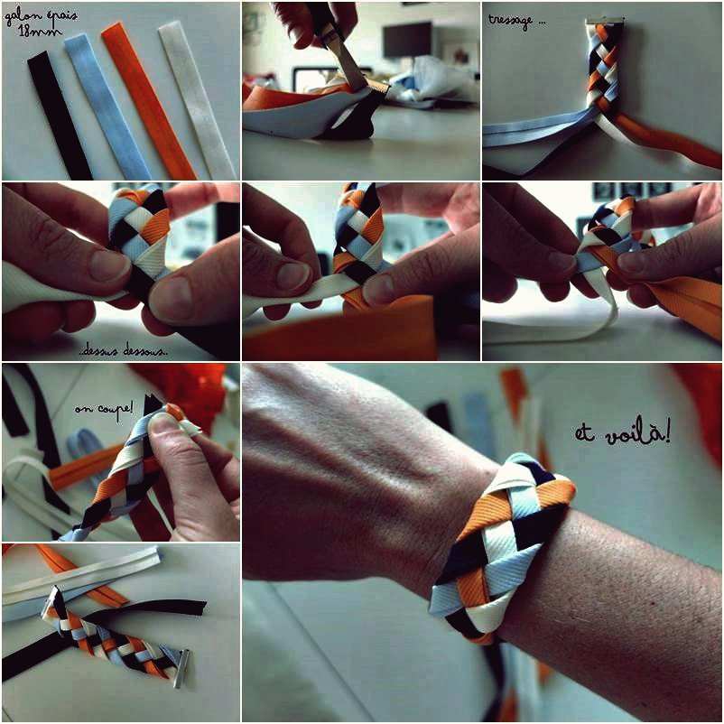 Wie DIY 4 Strang Braided Ribbon Bracelet