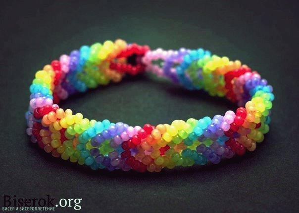 Wie DIY Regenbogen Farbe gewebt Perlen Armband
