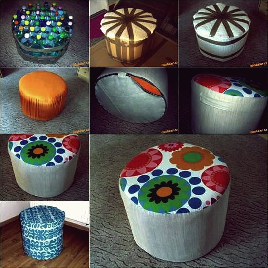Wie man einen schönen DIY Ottoman aus Plastikflaschen macht