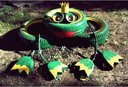 40+ kreative DIY-Ideen, um alte Reifen in tierisches Gartendekor umzuwandeln