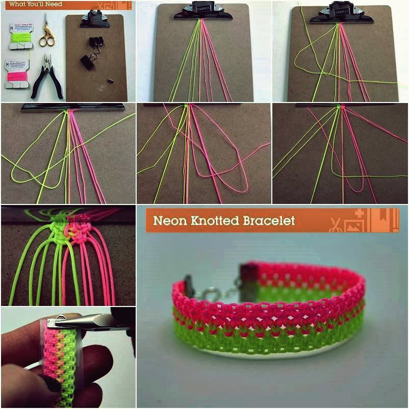 DIY helle Neon geknotete Armband