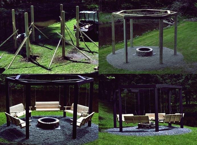DIY Hinterhof Feuerstelle mit Schaukelsitzen