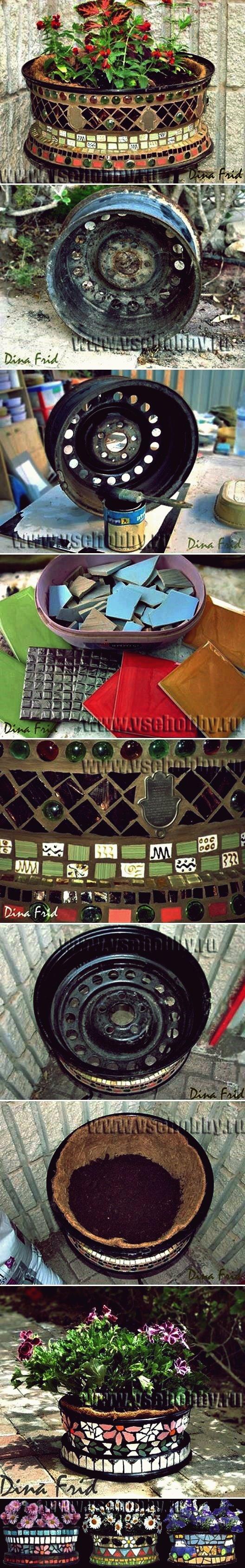 DIY Mosaik-Blumentopf vom alten Rad