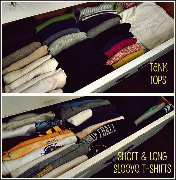 DIY So falten und organisieren Sie T-Shirts in einer Schublade