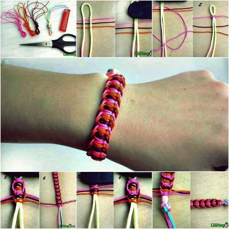 DIY stilvolles quadratisches Knoten-Makramee-Armband