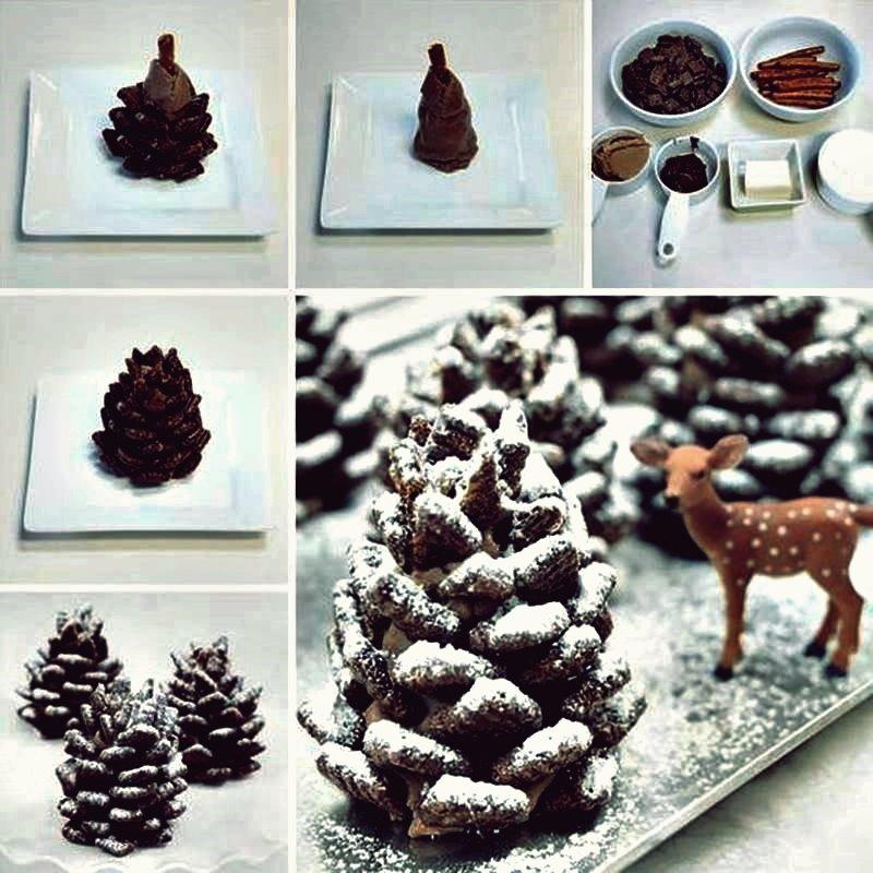 Kreative Ideen - DIY Adorable Snowy Pinecone Snacks