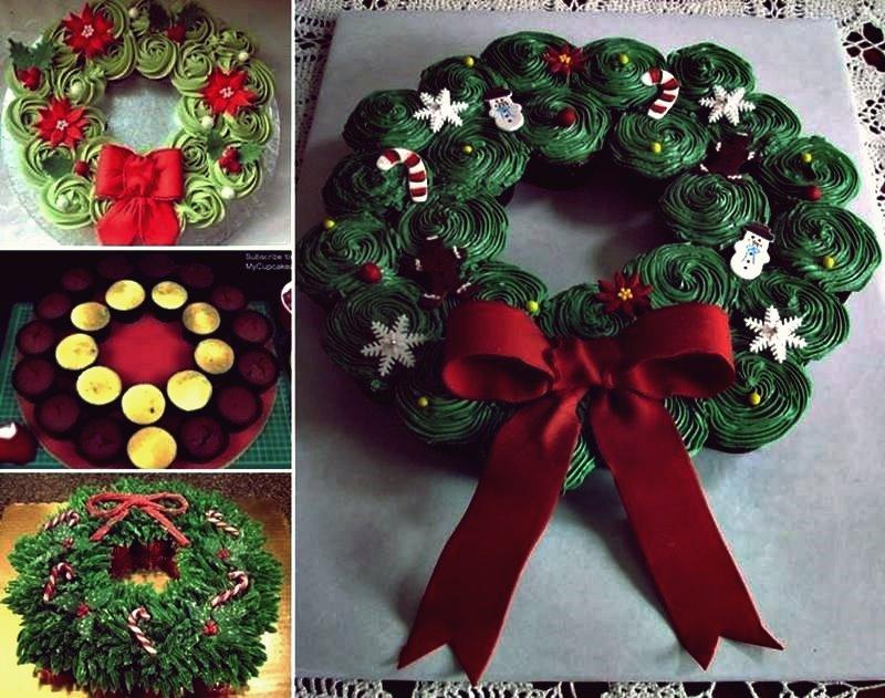 Kreative Ideen - DIY Cupcake Weihnachtskranz