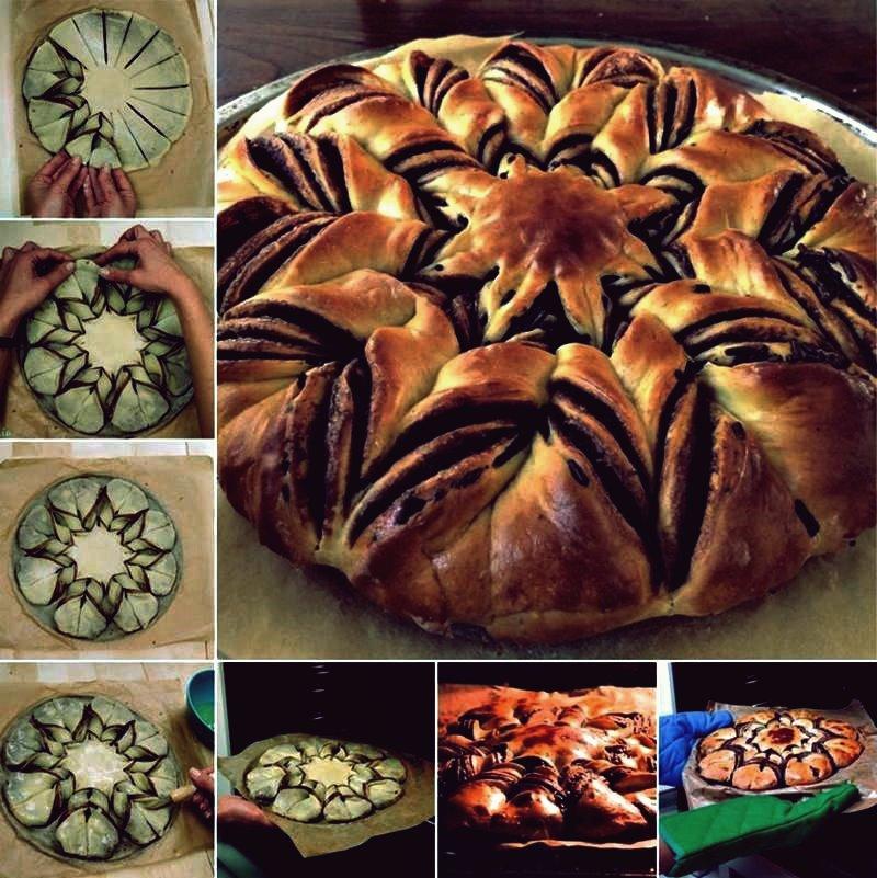 Kreative Ideen - DIY geflochtenes Nutella Star Brot