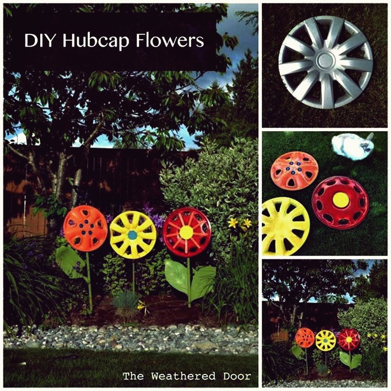 Kreative Ideen - DIY Hubcap Flower Garden Decor