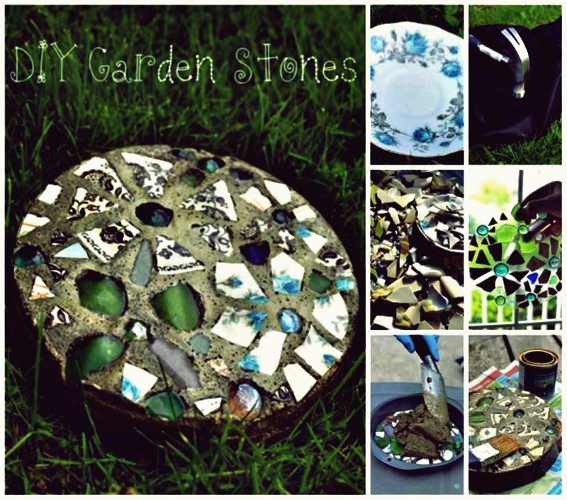 Kreative Ideen - DIY Mosaic Garden Trittstein mit einer Kuchenform