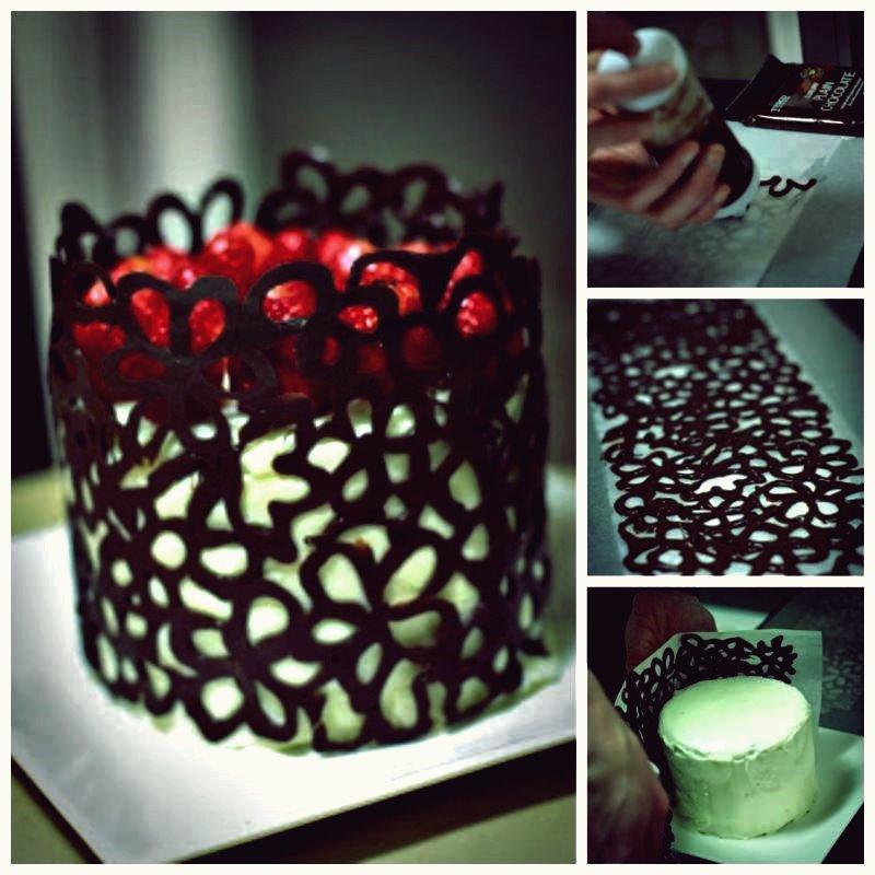 Kreative Ideen - DIY Schokoladenspitze Blumenkuchen Dekoration