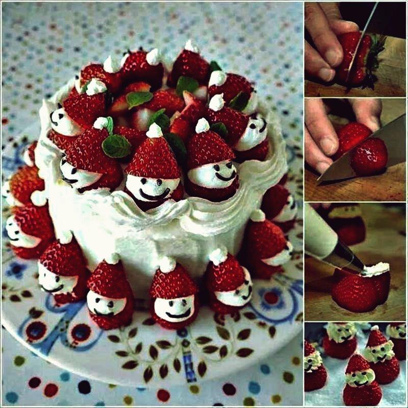 Kreative Ideen - DIY Strawberry Santa Christmas Cake
