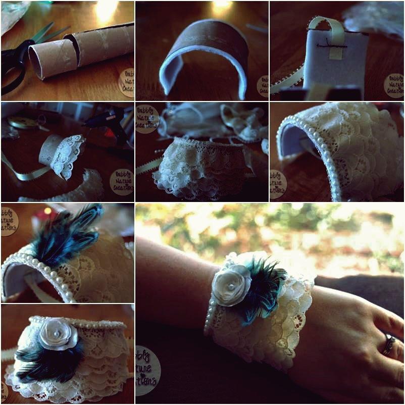 Wie DIY Lace Cuff Bracelet aus Toilettenpapierrolle
