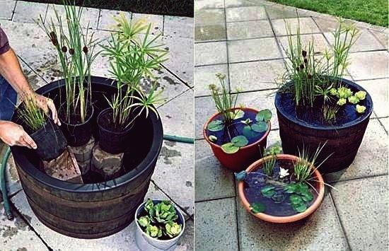 Wie DIY Mini Gartenteich in einem Container