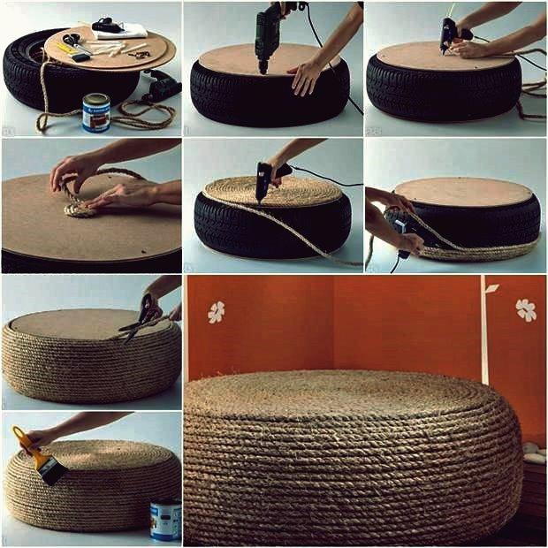Wie DIY Rope Ottoman von Old Tire