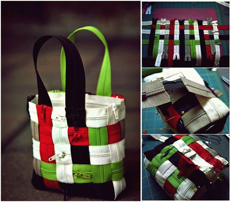 Wie DIY stilvolle gewebte Reißverschluss-Einkaufstasche