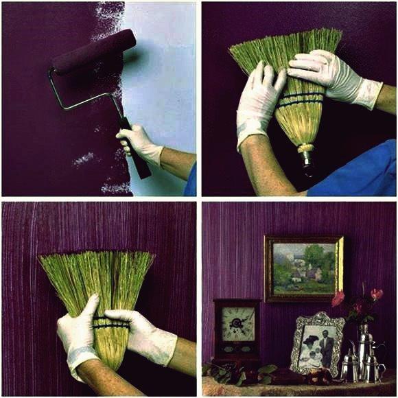 Wie man gemalte Wände mit einem Grasbesen bastelt